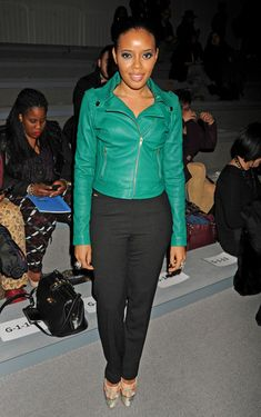 all about a color leather jacket this season...modeled by angela simmons