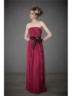 Silk Strapless Boned Bodice Floor-Length Special Occasions Dress