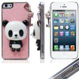 IZENGATE(TM) Giant Panda Bear Pink Keychain Silver Crystal Diamond Bling Rhinestone Protector Hard Skin Back Case Phone Cover for Apple iPhone 5 5G , iPhone cases