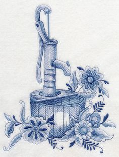 Delft Blue Country Flowers