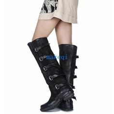 Vintage Womens Roman Cowboy Military Over Knee High Boots Buckle Round Toe Shoes
