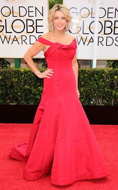 Deborah Norville from 2015 Golden Globes Red Carpet Arrivals | E! Online - wearing Austin Scarlett. This would look great in Ivory as a wedding dress.