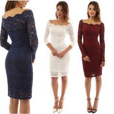 8f9e8801d71 Femmes mode dentelle Sexy creux robe à manches longues Slim Fit une étape  courte robe -