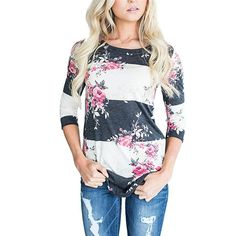 43d7a19126f Casual Long Sleeve Printed Floral T Shirt