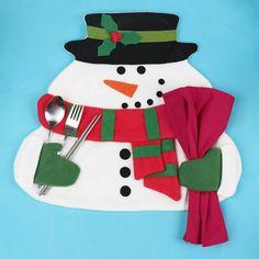 クリスマス雪だるまプレイスマット笑顔雪だるまテーブルウェア食器プレイスマットホリデーカトラリーホルダー装飾(China (Mainland))