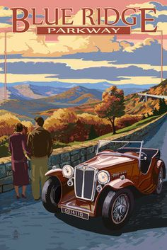 Blue Ridge Parkway Viaduct, Antique Car and Sunset Print #4  https://www.friendsbrp.org/shop/