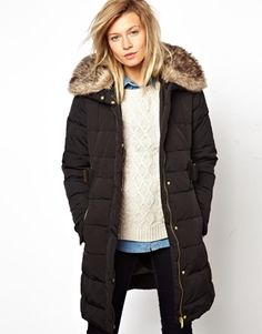 Mango Belted Padded Fur Collar Jacket