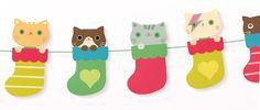 Kittens In Socks Garland free printable download! So Cute <3!