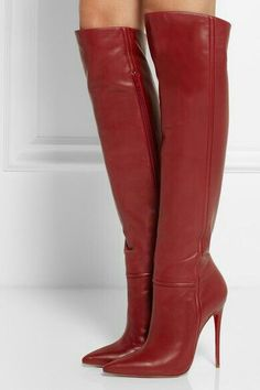 Christian Louboutin OFF! Christian Louboutin Armurabotta Thigh-High Pointy Red from Neiman Marcus High Heel Boots, Knee Boots, Heeled Boots, Bootie Boots, Hot Shoes, Crazy Shoes, Me Too Shoes, Shoes Heels, Dream Shoes