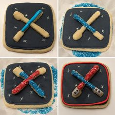 Star Wars cookies easy enough for the kiddos to help decorate! Double-Decker Star Wars Light Saber Cookies