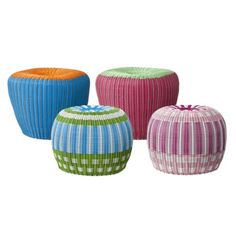 Cute little plastic poufs, these would be fun outdoors or in the playroom.