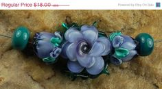 On Sale Glass Lampwork Beads Lavender Blue Teal by carolynsbeads, $14.40