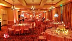 Amber LED Up Lighting with Wireless LED Pin Spots on Centerpieces