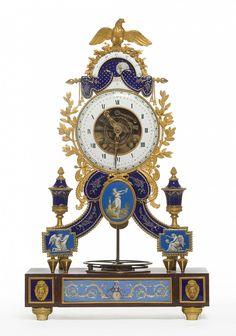 Skeleton Clock Joseph Coteau (1740-1812), enameller Paris, dated 1796 Bronze gilt, enamel, cherry red marble