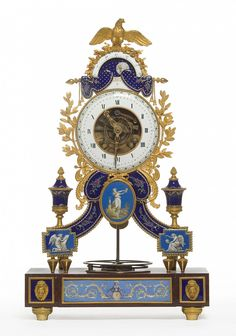 Skeleton Clock Joseph Coteau (1740-1812), enameller Paris, dated 1796 Bronze gilt, enamel, cherry red marble