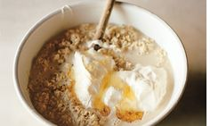 Skye Gyngell's Bircher muesli  I eat this creamy, good-for-you muesli, almost every weekday, all year round. On Sunday evening, I put a large tub of oats to soak that will last us through until Friday and keep it in the fridge. In the morning I add a spoonful or so of plain yogurt, a drizzle of honey and whatever fruit is in season – strawberries, blueberries and raspberries in the summer; or stewed plums, apples or pears in autumn.