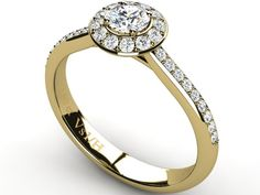 18ct Yellow Solid Gold Halo with side diamonds Wedding Ring - Paul Jewelry