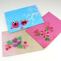 Paper Quilling Envelopes-Mini-Small-Gift Card Holder-Quilled Owls-Roses Set of 3- Pink-Scrapbooking-Notes Handmade Enchanted Quilling. $7.00, via Etsy.