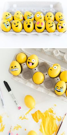 DIY Emoji Easter Eggs | Click Pic for 25 Easy Easter Crafts for Kids to Make | Easy Easter Craft Ideas for Toddlers to Make