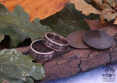Beautiful handmade rings created from out of circulation coins, emblazoned with oak leaves :)
