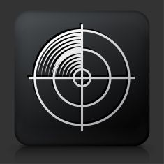 Black Square Button with Radar Screen Icon vector art illustration
