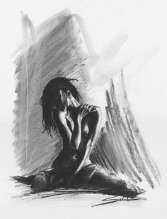 Drawing woman black and white