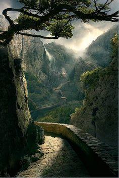 beautiful walk along the mountainside