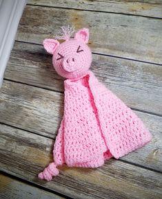 Spike the Pig Lovey - Auburn Elephant Single Crochet, Crochet Baby, Free Crochet, Crochet Toys, Snuggle Blanket, Lovey Blanket, Foundation Half Double Crochet, Owl Crochet Patterns, Kids Patterns