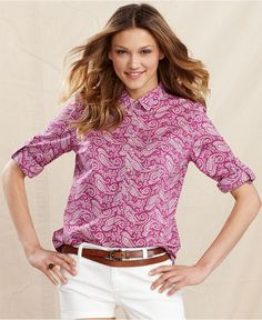 Long-Sleeve Paisley-Print - Tops - Women - Macy's