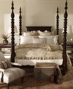 gorgeous neutral colored bedroom with brown poster bed that is to die for - Ethan Allen Bedroom Furniture
