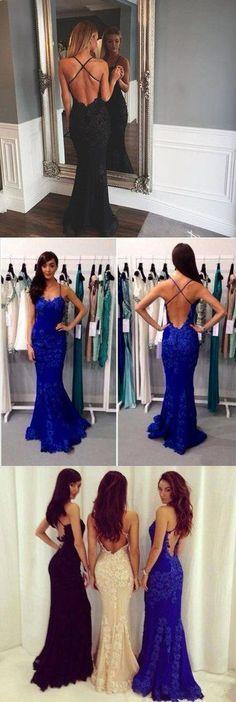 Black Prom Dresses,Mermaid Prom Dress,Lace Prom Dress,Backless Evening