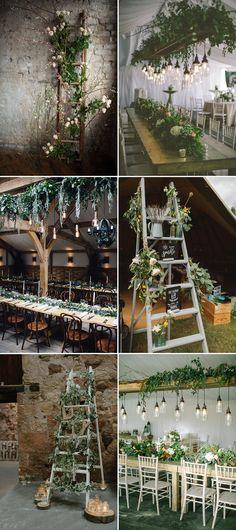 Wedding Decor & Styling Ladders Using Greenery & Foliage