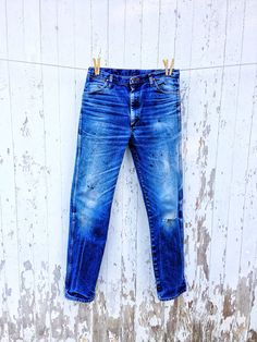 Vintage Wrangler Jeans Whiskered Broken In 34 Waist Weathered Distressed Leather Patch on Etsy, $78.00