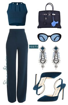 #OOTD - Cushnie Et Ochs Top  Pants, Hermes Bag by adswil ❤ liked on Polyvore featuring Cushnie Et Ochs, Hermès, Manolo Blahnik, Prada and DANNIJO