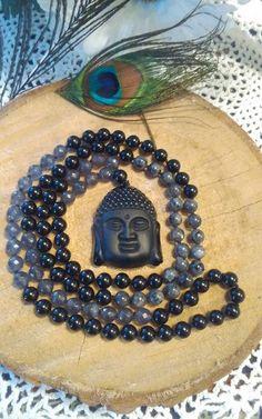 by MalasByTini on Etsy Prayer Beads, Bohemian Jewelry, Gemstone Beads, Labradorite, Buddha, Prayers, Gemstones, Pendant, Handmade