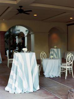 La Tavola Fine Linen Rental: Vintage Stripe French Blue | Photography: Mariel Hannah, Event Planning & Design: Vanessa Noel Events, Floral Design: House of Flowers, Venue: Bakersfield Country Club, Rentals: Walker Lewis Rentals