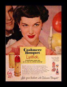 1950 Cashmere Bouquet Lipstick Ad Red Lip by Vintage Bridal Makeup, Vintage Makeup Ads, Vintage Beauty, Vintage Ads, Retro Makeup, Retro Ads, Vintage Humor, Vintage Stuff, Vintage Fashion