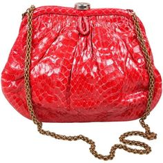 Preowned Vintage Chanel Red Python Top Snap Closure Clutch ($1,245) ❤ liked on Polyvore featuring bags, handbags, clutches, red, snap purse, red purse, red clutches, embellished handbags and chanel