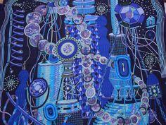 """Hermes scarf CARRE cashmere/silk shawl GM """"LABORATOIRE DU TEMPS"""" deep blue #Hermes"""