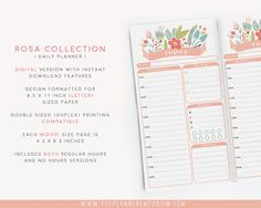 These daily planner inserts are part of the ROSA Collection and feature a trendy, feminine floral design. These are printable daily planner inserts with all you need to keep track of your daily schedule and inspirations. Two versions are included: one with regular hours and one with no hours.  These pages come in 4.3 x 8.3 and fit any Travelers Notebook style planners including the following: • Midori Travelers Notebooks • Fauxdori, Foxydori, etc.  This is a [DIGITAL] product for you to…