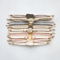 pyrite, citrine and marble bracelets