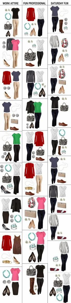 Stuff Audrey Says: My No-Brainer Wardrobe (a la The Tiny Twig) --Not counting shoes or bags, these are approximately 18 pieces altogether. Capsule Wardrobe, Wardrobe Basics, Work Wardrobe, Wardrobe Ideas, Fashion Moda, Work Fashion, Fashion Looks, Womens Fashion, Casual Outfits