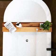 Rustic Timber Bath Caddy Handmade with Wine Glass Holder