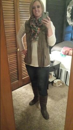 Maurices outfit...jeggings, vest and top.
