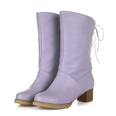 WeenFashion Womens Round Closed Toe Low Heels PU Solid Boots with Bandage, Purple, 9.5 B(M) US >>> Click image to review more details.