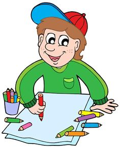 Boy with crayons vector image on VectorStock Lohri Wishes, Drawing For Kids, Coloring Books, Vector Free, Clip Art, School, Drawings, Illustration, Fictional Characters