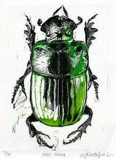 Print inspiration - 2 colour linocut Egyptian scarab beetle linocut limited edition print in colorful green
