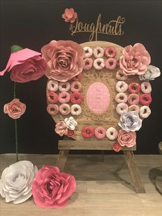 Pink tones of donuts on wall