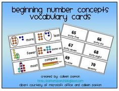 Vocabulary Cards for numbers 1-100 and comparing numbers