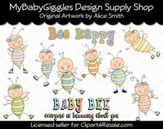 Baby Bumbles Bees Clip Art Digital Graphics Scrapbook Card Making Supply INSTANT Download